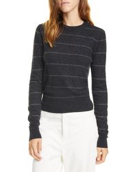 Vince Stripe Fitted Cashmere Crewneck Sweater - Gray