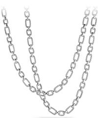 David Yurman - 'chain' Long Cushion Link Necklace With Blue Sapphires - Lyst