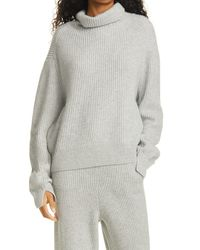 Rag & Bone Pierce Cashmere Turtleneck Relaxed Fit Sweater - Grey