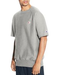 Champion Reverse Weave Short Sleeve Sweatshirt - Grey