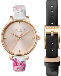 1362278cb Lyst - Ted Baker Kate Round Leather Strap Watch in Pink