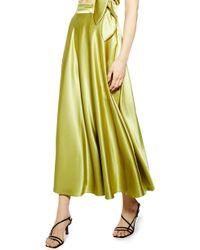 TOPSHOP Satin Midi Skirt - Green