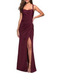 La Femme Ruched Jersey A-line Gown - Purple