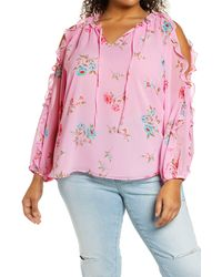 1.STATE - 1. State Ruffle Cold-shoulder Georgette Top - Lyst