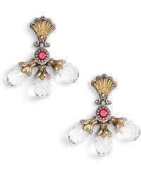 Konstantino Pythia Triple Crystal Drop Earrings - Metallic