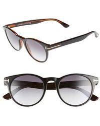 c0e62ced93 Lyst - Tom Ford Palmer Tf 522 01v Shiny Black Round Sunglasses in Black