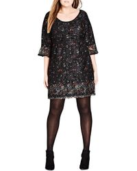 City Chic - Floral Fields Scoop Neck Lace Dress - Lyst