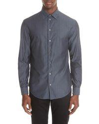 Emporio Armani - Regular Fit Geometric Dress Shirt - Lyst
