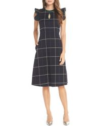 6e42d5c2557 Lyst - Nordstrom 1901 Belted Plaid Midi Dress in Black