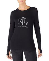 Lauren by Ralph Lauren - Logo Graphic Lounge Tee - Lyst