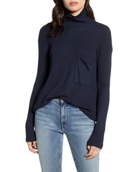 Stateside Thermal Funnel Neck Top - Blue