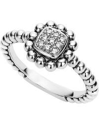 Lagos Caviar Spark Diamond Square Ring - Metallic