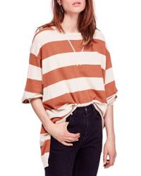Free People - Surfin' On Your Stripes Cotton Crewneck Top - Lyst