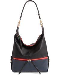 Sondra Roberts Colorblock Faux Leather Hobo Bag - Black