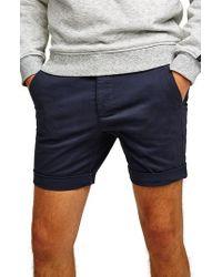 TOPMAN - Skinny Fit Chino Shorts - Lyst