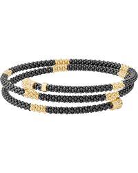 Lagos Gold & Black Caviar Collection 18k Gold & Ceramic Coil Bracelet - Metallic