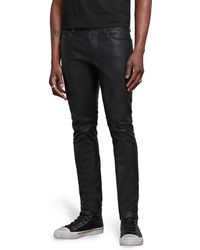 John Varvatos Wight Skinny Straight Leg Jeans With Sheepskin Knee Patch - Black