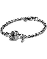 David Yurman - 'cable Collectibles' Lock And Key Charm Bracelet With Diamonds - Lyst
