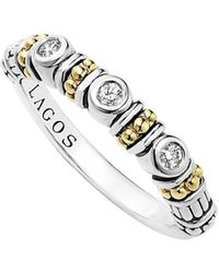 Lagos Sterling Silver Three Diamond Stacking Ring With 18k Gold Stations - Metallic