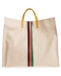 Clare V. - Simple Stripe Perforated Leather Tote - Lyst