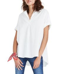Madewell Courier Button Back Shirt - White