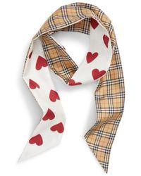 Burberry - Heart & Check Silk Skinny Scarf - Lyst