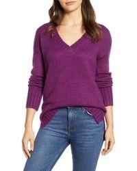 Caslon Caslon V-neck Sweater - Purple