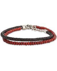 Title Of Work Tahitian Pearl & Leather Wrap Bracelet - Multicolour