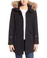 Trina Turk   'riley' Wool Blend Coat With Genuine Fur Trim Hood   Lyst