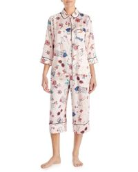 Kate Spade - Print Charmeuse Crop Pajamas - Lyst