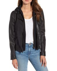 Caslon Caslon Leather Moto Jacket With Removable Hood - Black