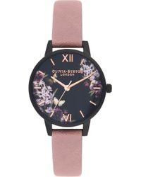 Olivia Burton - After Dark Leather Strap Watch - Lyst
