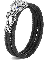 John Hardy Men's Legends Naga Woven Leather Wrap Bracelet, Size M-l - Black