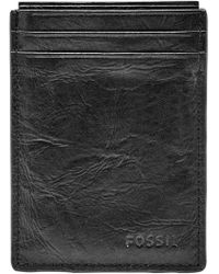 8dfac0a32acf Lyst - Fossil 'omega' Leather Magnetic Money Clip Card Case in Black ...