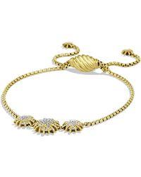 David Yurman 'starburst' Three-station Bracelet With Diamonds In Gold - Metallic