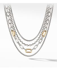 David Yurman 4-row Mixed Chain Bib Necklace With 18k Yellow Gold - Metallic