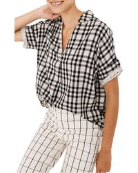 Madewell Courier Button-back Shirt In Double-faced Plaid - Black