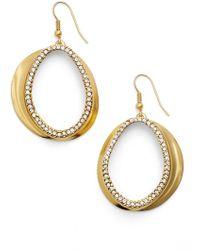 Karine Sultan - Crystal Front Hoop Earrings - Lyst