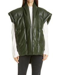 FRAME Sleeveless Leather Puffer Vest - Green