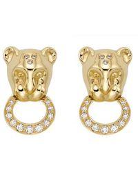 Temple St. Clair - Diamond Pavé Lion Cub Earrings - Lyst