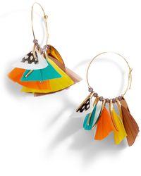 Gas Bijoux Marly Feather Hoop Earrings - Blue