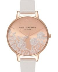 Olivia Burton - Lace Detail Leather Strap Watch - Lyst