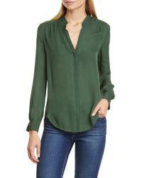 L'Agence Lagence Bianca Band Collar Silk Blouse - Green