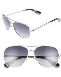 Kate Spade - Avaline 58mm Aviator Sunglasses - Palladium - Lyst