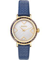 Missoni Chevron Joy Leather Strap Watch - Metallic
