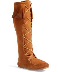 Minnetonka Knee High Moccasin Boot - Brown