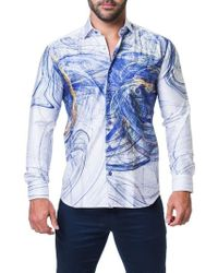 Maceoo - Fibonacci Scribble Trim Fit Print Sport Shirt - Lyst