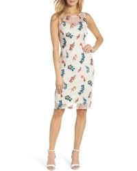 Adrianna Papell - Embroidered Chantilly Lace Sheath Dress - Lyst