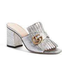 Gucci - Gg Marmont Peep Toe Kiltie Mule - Lyst