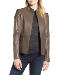 Via Spiga - Stand Collar Leather Jacket - Lyst